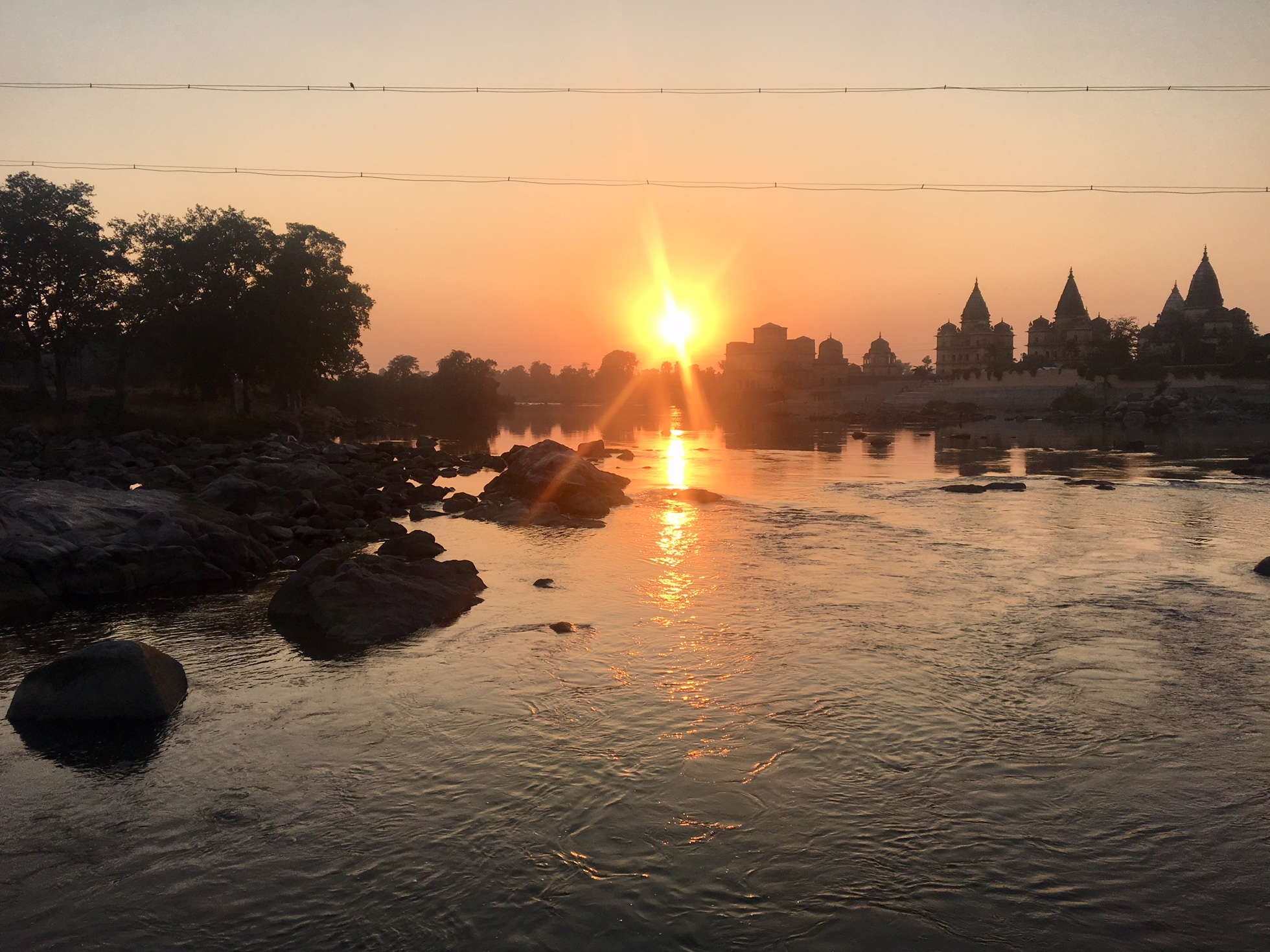 Sunset over the Betwa River in Orchha.