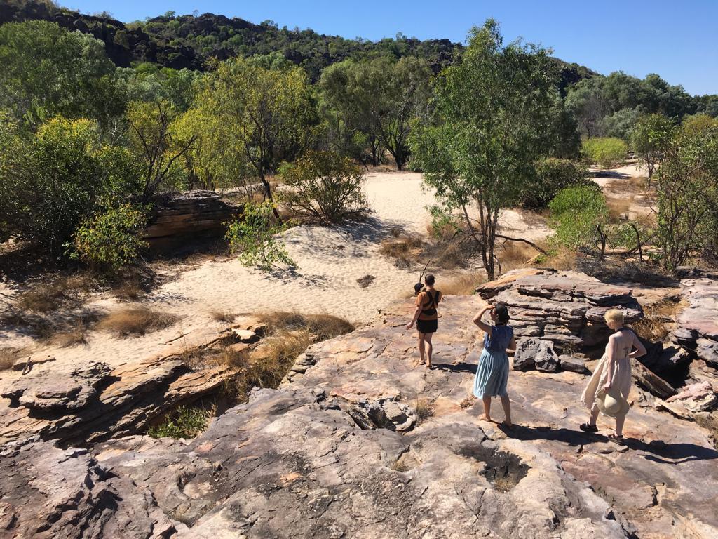 Eilidh (far right) with her partner's family in Kakadu National Park.